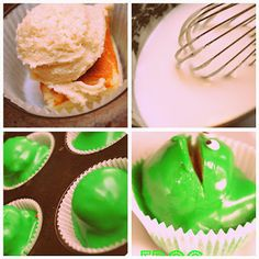 Homemade Frog Cakes! Frog Food, Food N, Frog Cakes, 1st Birthday Cakes, Let Them Eat Cake, Birthdays, Goodies, Cupcakes, Homemade