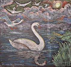 Waldorf ~ 1st grade ~ Letter: S ~ The Six Swans ~ chalkboard drawing