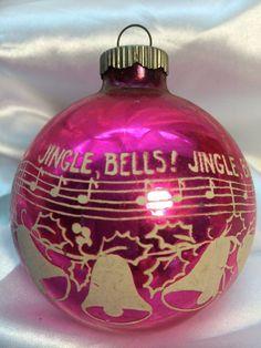 Vintage Pink Shiny Brite Jingle Bells Stencil Christmas Ornament