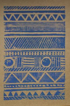 Aztec lino print greeting card by TheThursdayProject on Etsy ...