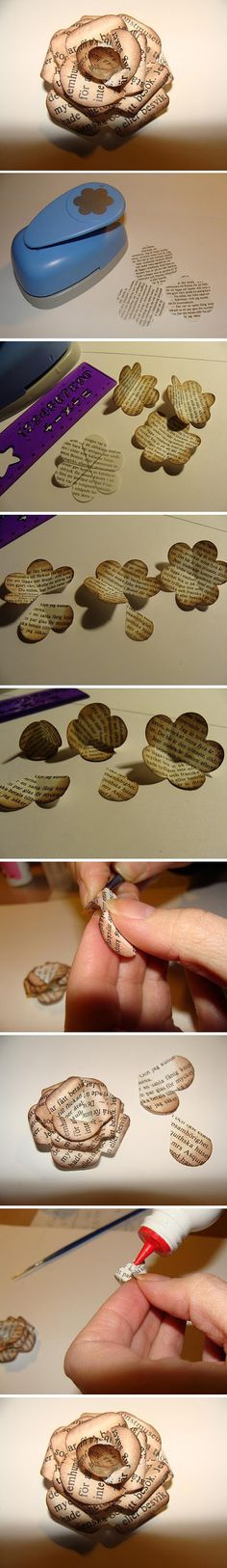 @musHo Mamuh Shyla Brussett Engel. I totally think you could corporate these also. Upcycled paper flower brooch, button or pin. It looks like the pages have been briefly toasted to get the vignette effect.  I looks fabulous, a few different paper cutting stampers could give some interesting effects. And maybe a bit of matt varnish or resin to make it last forever.