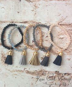 Beaded Tassel Bracelets – Rose Gold Vintage
