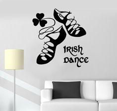Vinyl Decal Irish Dance Ireland Stepdance Ghillies Celtic Decor Wall Stickers (ig253)