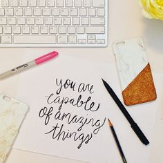 Custom order prep today. Isn't this quote just perfect? P.S glitter phone cases are coming to PINKU! I'm so excited #lettering #quotes #onmydesk #officespace #office #marble #phonecase #iphone #stationery #glitter #igdaily #igersoftheday #potd #weekendvibes #goodvibes #marble #style #fblogger #saturdaynight #nightin