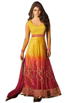 Stylelok Yellow Georgette Anarkali Suit With Matching Dupatta In Rs.4510