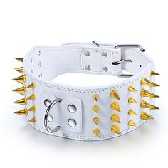 3inch Wide White Personalized Spiked Studded Large Dog Collar Leather Pitbull Mastiff Terrier Bulldog Collar Pet Dog Necklace #Affiliate