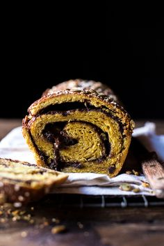 "Chocolate Cinnamon Swirl Pumpkin Brioche Bread, the ""cure all"" bread, so gooey & delicious! Keep one loaf for you, gift the other. Bread Recipes, Cake Recipes, Dessert Recipes, Pumpkin Recipes, Keto Recipes, Cinnamon Swirl Bread, Cinnamon Rolls, Brioche Bread, Pumpkin Butter"
