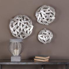 Uttermost Quills Silver Circular Wall Art (Set of 3)