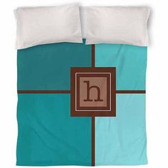 Thumbprintz Grid Monogram Teal Duvet Cover, Blue
