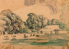 #Stanley #Lewis #Study for #Hyde #Park, circa 1930  #Pencil #pen and black and green ink on brown paper #modern #British #art #LLFA
