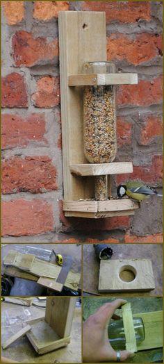 Wood + Old Glass Bottle Bird Feeder - 89 Unique DIY Bird Feeders - Full Step by Step Tutorials - Page 4 of 6 - DIY & Crafts