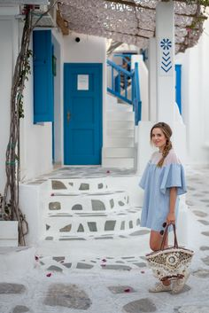 """Outfit Details: Urban Outfitters Dress, Soludos Espadrilles, Figue Bag, Thierry Lasry Sunglasses, Fresh Lip Balm in """"Rose"""" I'm jumping… Mykonos Town, Santorini, Mykonos Greece, Greece Girl, Greece Outfit, Greece Fashion, Europe Holidays, Greece Holiday, Viajes"""
