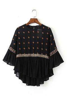 Bordado 3/4 Longitud blusa de las mangas - US $ 23.95 -YOINS
