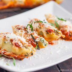 Конкильони с сыром и шпинатом — Рецепты с фото, домашние рецепты, рецепты тортов, салаты на Onecook.ru
