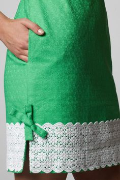 Lilly Pulitzer spring green dress with white cotton lace, I love the retro look. - photography by Trevor Dixon Pakistani Fashion Party Wear, Pakistani Dress Design, Pakistani Dresses, Lace Trim Skirts, Rehearsal Dinner Dresses, African Fashion Dresses, Skirts With Pockets, Sleeve Designs, Stylish Dresses