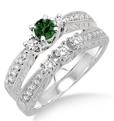 """1.5 Carat Emerald & Diamond Antique Bridal set on 10k White Gold. Say """" I DO"""" with the dazzling and perfect Emerald wedding ring engagement set. She will love this lovely and trendy style of this diamond and Emerald ring.  