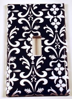 Light Switch Cover Wall Plates Single Switchplate  in  Black Damask (179S). $6.00, via Etsy.