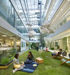 The London branch of HOK (global architecture firm) features a central patch of grass as well as construction method and materials that make it the first LEED Gold building in the United Kingdom.
