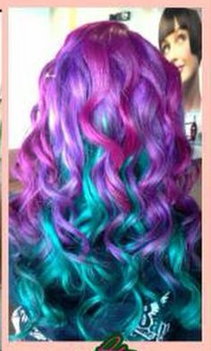 Purple turquoise blue dyed hair