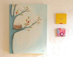 baby birds Canvas Wall Art  only 2 by creativethursday on Etsy, $119.00