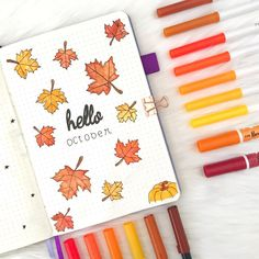 Bullet journal monthly cover page, October cover page, leaf drawings, maple leaf drawings, hand lettering. Bullet Journal Cover Page, Bullet Journal 2019, Bullet Journal Notebook, Bullet Journal School, Bullet Journal Ideas Pages, Bullet Journal Layout, Journal Covers, Bullet Journal Inspiration, Bullet Journal October Theme