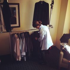 Liz organizing our essentials collection #fall2014 #atelierdesigners #ptaylorclothing