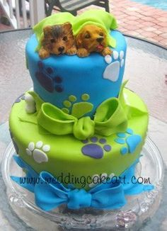 Adorable Puppy Paw Marks Cake Design Birthday For Twins Dog