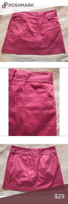 "{Lily Pulitzer} A-Line Scalloped Mini Skirt Adorable pink mini skirt with scalloped pockets. Approx 14.75"" long. 3 smudges on pocket (see last pic). Location: B1 Lilly Pulitzer Skirts Mini"