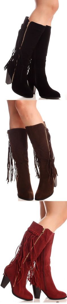 Fringe me AWAY! These boots consist of vegan suede and feature fringe accents along the back of the boot, and they are finished with a low heel. They zip all the way up, for easy on and off wear!