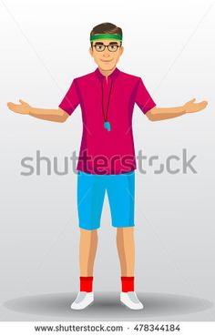 Coach sport with standing position. isolated on background. vector illustration