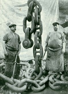 """Anchor Men - Mauretania  This is another illustration of the size and weight of the anchor chains of the """"Mauretania"""".    RMS MAURETANIA was one of the most famous ships ever built on Tyneside.    Reference: TWAS Ref: 2931/T/14    (Copyright) We're happy for you to share this digital image within the spirit of The Commons. Please cite 'Tyne & Wear Archives & Museums' when reusing."""