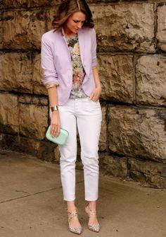 Lilac, floral + white denim