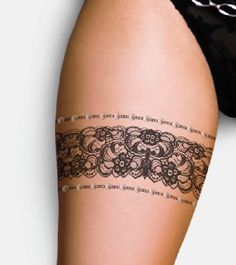 Pearly Lace tattoos. I like the lace, maybe not the pearl borders. This would be cute with a black nylon seam up my legs and a bow high on the back of my thighs