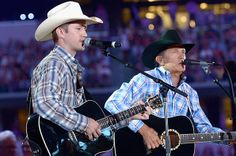 Bubba Strait, George Strait perform together for first time at  his Dad's Cowboy Rides Away Tour's final stop at AT&T Stadium in Arlington, TX June 7, 2014.