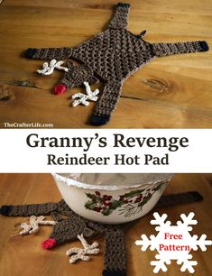 Granny's Revenge Hot Pad Reindeer got run over by a granny square! I thought a reindeer would be cute and instead of making the main body shape a circle, I thought a granny square would be the perfect Baby Christmas Gifts, Crochet Christmas Ornaments, 3d Christmas, Holiday Crochet, Crochet Crafts, Crochet Yarn, Yarn Crafts, Free Crochet, Diy And Crafts