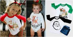 Personalized Retro Raglans and Tees!  12 Holiday Designs!  3 styles in sizes 6 months - Youth Large.