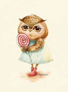 owl_by Inga Paltser Illustrations, Illustration Art, Owl Clip Art, Whimsical Owl, Paper Owls, Owl Pictures, Wise Owl, Owl Bird, Watercolor Animals
