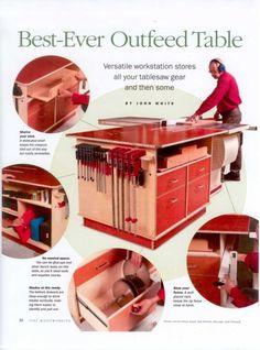Outfeed Table - Great ideas like storage but would like it bigger/wrap around the table saw further.