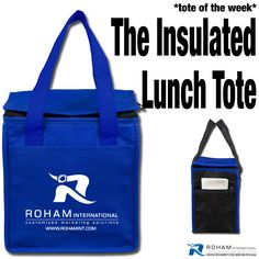 """#RohamInt #ToteoftheWeek– The Insulated Lunch Tote!  The Insulated Lunch Tote is a great promotional tool for your """"on the go"""" clients!  This would be perfect for a company occasion, promotional event, or as a special gift for your clients to make your business stand out with this """"on the go"""" promotional opportunity!"""