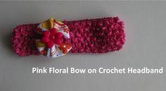 Pink floral bow on a crochet headband