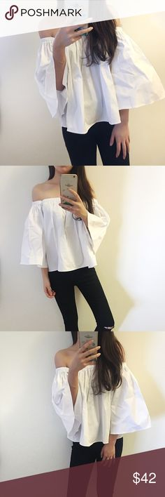 Boutique-Back in Stock Whiteoffshoulder summer top Brand new. Sexy summer off shoulder top. Wear it to shopping, beach or clubbing. The best two things about this top are 1. Material is thick enough so it doesn't look cheap! 2. You never have to worry about sleeve or chest line falling down.  🔸size available in ONE size 🔸Material Cotton  🔸I'm modeling size One size, I'm 5'4 and 98lbs  🔸photos are my own Tops