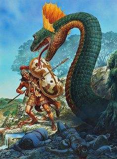"""""""Cadmus slaying the Dragon"""" - art by Peter Dennis ~ interesting interpretation of a myth/legend using a hero dressed in period armour instead of the Classical Greek armour and clothes that most artists use."""
