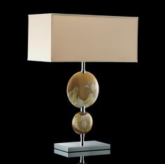 "Signature Collection: 31"" Tall Luxury Polished Buffalo 2 Disc Table Lamp * Chromed Brass Accents * Comprehensive Range of Partner Furniture, Lighting & Decor Available"