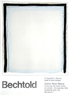 "Erwin Bechtold: Galerie René Métras, ""BECHTOLD"" Galerie René Métras - Barcelona, 1978 Original-Farblithographie x cm Drucker: La . Exhibition Poster, I Shop, Barcelona, Etsy, The Originals, Artist, Image, Design, Gifts"