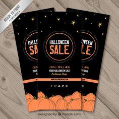 Banners negros de rebajas de halloween con calabazas