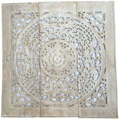 Circular Wall Decor hand carved balinese decorative lotus wall paneling. teak carving