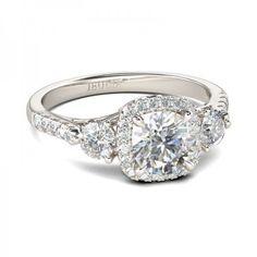 Jeulia Three Stone Halo Round Cut Created White Sapphire Engagement Ring 2.16CT TW