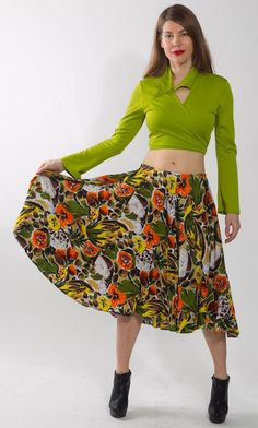 1980's Green Floral Print Skirt  Vintage Circle Orange by mijumaju, $35.00