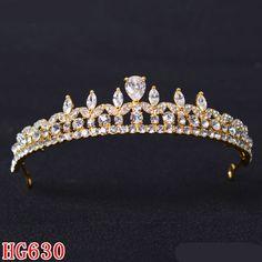 HG630 CZ Pageant Queen Crown Tiara Wedding Bridal Headpieces Prom Hair Accessory