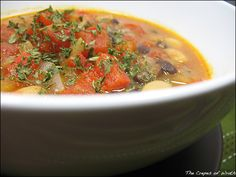 A hearty soup of beans, tomatoes, onions, and bell peppers in a creamy vegetable broth. Tomato Vegetable, Tomato Soup, Soup And Sandwich, Bean Soup, Soup And Salad, Crepes, Soups And Stews, Lunch Ideas, Dinner Ideas